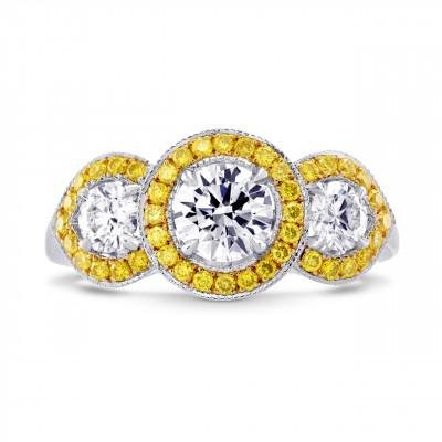3 Stone Round White and Fancy Intense Yellow Diamond Halo Ring (1.49Ct TW)