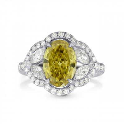 Fancy Dark Brownish Greenish Yellow Diamond Halo Ring (2.81Ct TW)