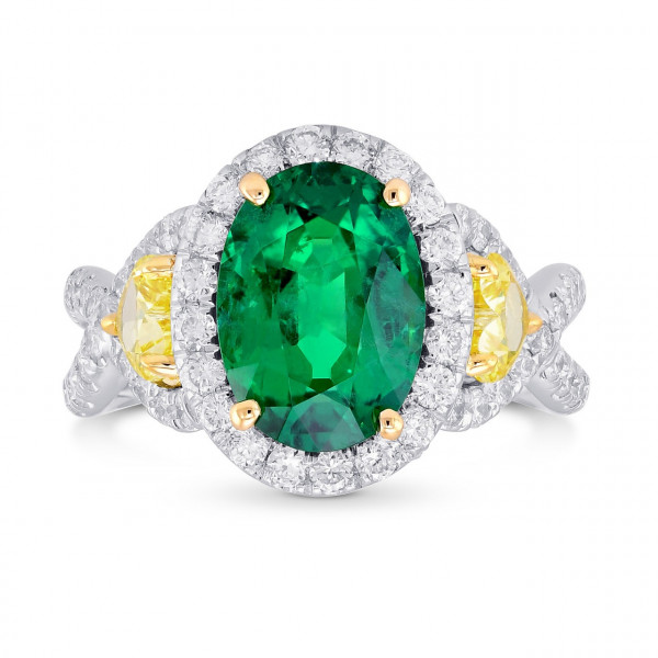 Emerald Oval and Yellow Heart Diamond Designer Ring (4.02Ct TW)