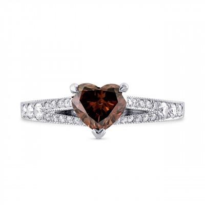 Fancy Deep Brown Pink Heart Diamond Side Stone Ring (1.10Ct TW)