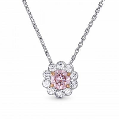 Fancy Purplish Pink Diamond Floral Halo Pendant (0.50Ct TW)
