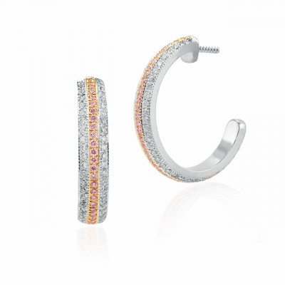 Fancy Pink and White Pave Diamond Hoop Earrings (1.24Ct TW)
