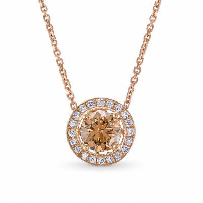 Rose Gold Fancy Brown Round Brilliant Diamond Milgrain Halo Pendant (0.83Ct TW)