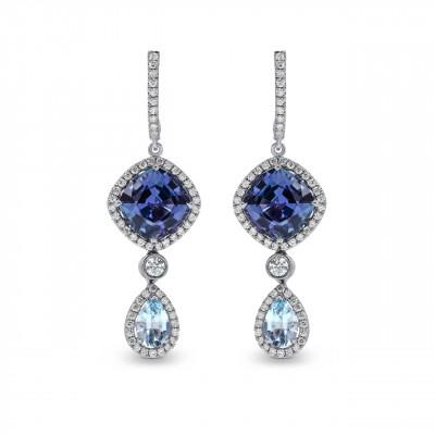 Tanzanite and Aquamarine Diamond Drop Earrings (7.00Ct TW)