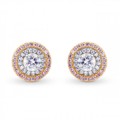 White and Pink Diamond Double Halo Earrings (1.07Ct TW)