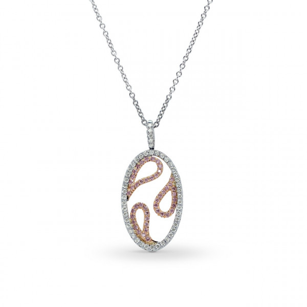 Destiny Fancy Pink and White Pave Pendant (0.30Ct TW)
