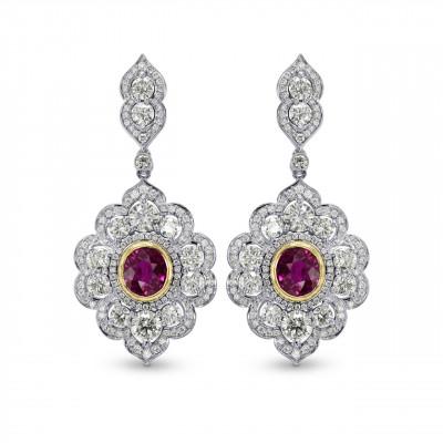 Ruby & Diamond Drop Halo Earrings (7.19Ct TW)