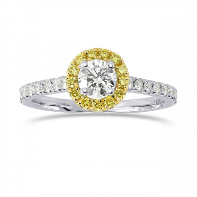 White and Fancy Intense Yellow Diamond Halo Ring (0.64Ct TW)