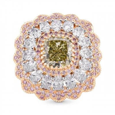 Extraordinary Fancy Grayish Yellowish Green Cushion Diamond Ring (4.48Ct TW)