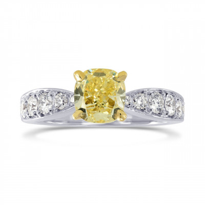 Fancy Yellow Cushion Diamond & Pave Ring (1.31Ct TW)