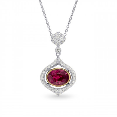 Oval Ruby and Diamond Drop Pendant (2.75Ct TW)