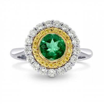 Round Emerald & Yellow Diamond Double Halo Ring (1.11Ct TW)