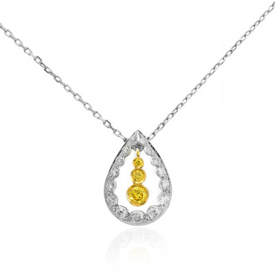 Drop Pendant with Fancy Vivid Yellow and Collection Round Diamonds (0.35Ct TW)