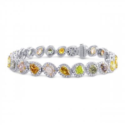 All Natural Multicolor Diamond Bracelet (10.98Ct TW)