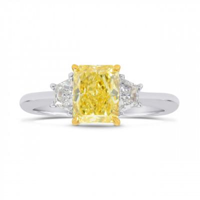 Fancy Intense Yellow  Radiant Diamond 3 Stone Ring (1.67Ct TW)