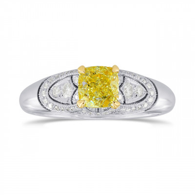 Fancy Intense Yellow Cushion Diamond Vintage Style Ring (0.95Ct TW)