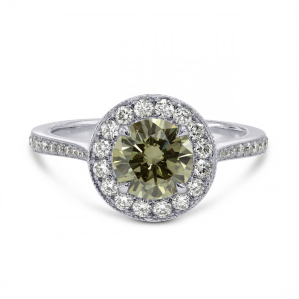 Fancy Grayish Greenish Yellow Chameleon Round Brilliant Halo Ring (1.55Ct TW)