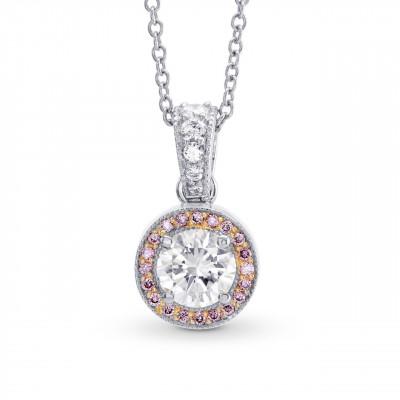 White and Fancy Pink Diamond Milgrain Halo Pendant (0.64Ct TW)