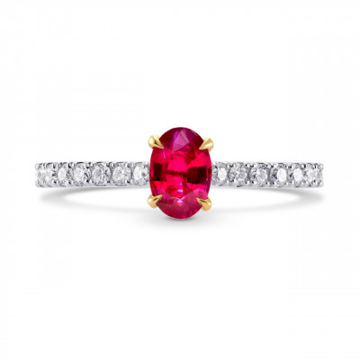 Oval Red Ruby & Diamond Side stone Ring (0.78Ct TW)