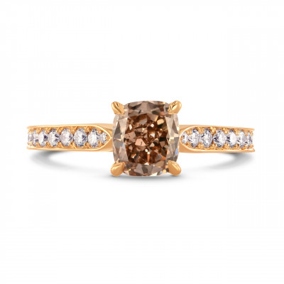 Fancy Brown Cushion & Pave Side Stone Diamond Ring (1.60Ct TW)