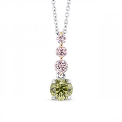 Round Chameleon & Fancy Pink Diamond Drop Pendant (0.68Ct TW)