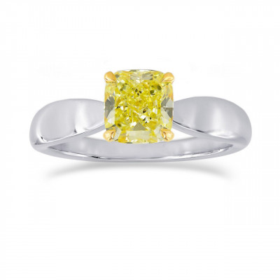 Fancy Intense Yellow Cushion Diamond Bowed Solitaire Ring (1.00Ct)
