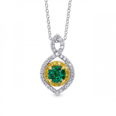 Round Green Emerald and Yellow Diamond Drop Pendant (0.62Ct TW)