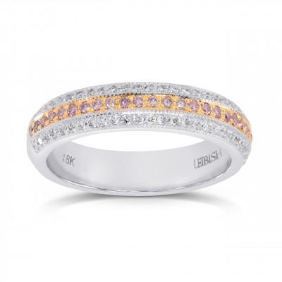 Fancy Light Pink and White Pave Diamond Milgrain Wedding Band (0.48Ct TW)