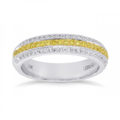 Fancy Intense Yellow and White Pave Diamond Milgrain Band Ring (0.39Ct TW)