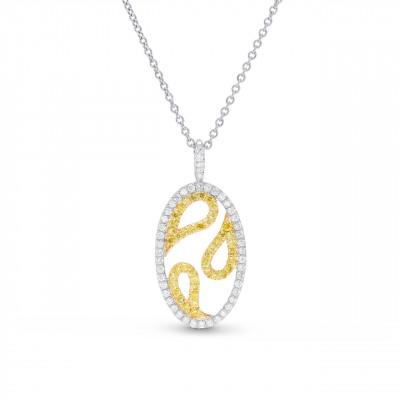 Fancy Intense Yellow & White Diamond Pendant (0.45Ct TW)