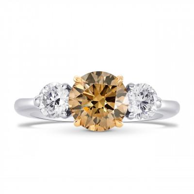 Champagne and White Round Diamond 3 Stone Ring (1.70Ct TW)