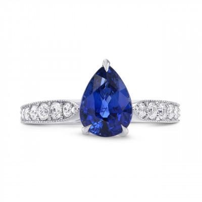 Sapphire Pear & Yellow Diamond Crown Ring (2.63Ct TW)
