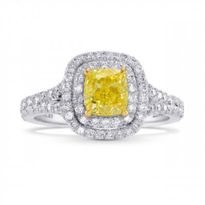 Platinum 1 Carat Fancy Intense Yellow Cushion Diamond Double Halo Ring (1.55Ct TW)