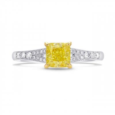 Fancy Intense Yellow Radiant Diamond Engagement Ring (1.18Ct TW)