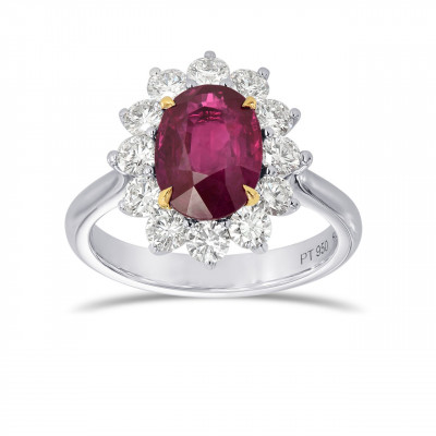 Platinum Oval Ruby and Diamond Basket Halo Ring (2.90Ct TW)