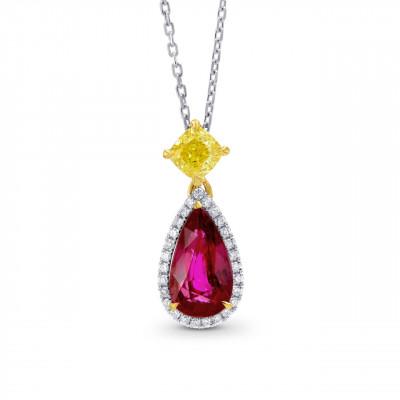 Кулон Pear Ruby (Unheated) & Yellow & White Diamond Halo Pendant (2.62Ct TW)