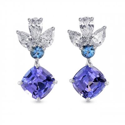 Tanzanite Cushion, Aquamarine & Diamond Drop Earrings (2.84Ct TW)