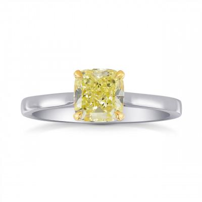 1 Carat Fancy Yellow Cushion Diamond Solitaire Ring (1.00Ct)