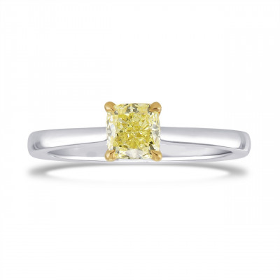 0.70 Carat Fancy Yellow Cushion Diamond Solitaire Ring (0.70Ct)