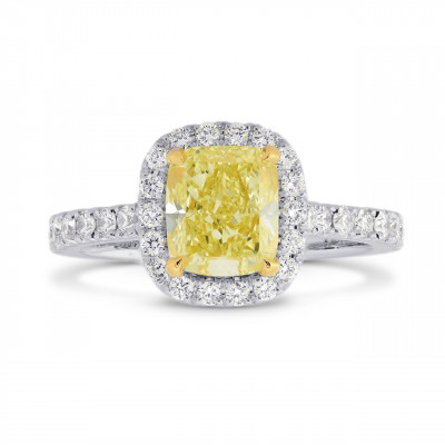 Fancy Yellow Cushion Diamond Carriage Halo Ring (1.60Ct TW)