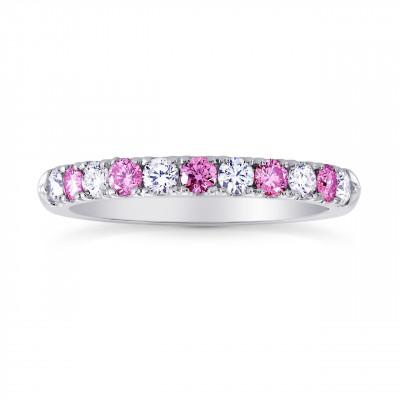 Pink Sapphire & White Diamond Wedding Band (0.44Ct TW)