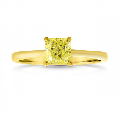 Fancy Intense Yellow Cushion Diamond Pave-Accent Solitaire Ring (1.04Ct TW)