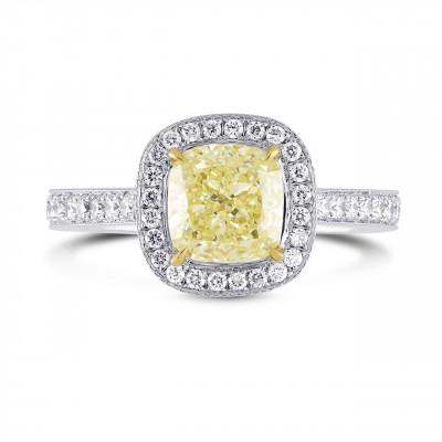 Fancy Light Yellow Cushion Diamond Halo Ring (1.35Ct TW)