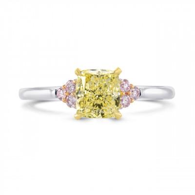 Fancy Yellow Cushion & Pink Diamond Ring (1.12Ct TW)