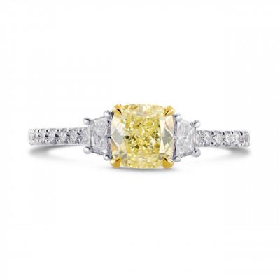 Fancy Yellow Cushion & Trapezoid Diamond Ring (1.70Ct TW)
