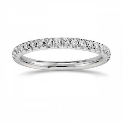 French Pave Diamond Half-Eternity Band Ring (0.35Ct TW)