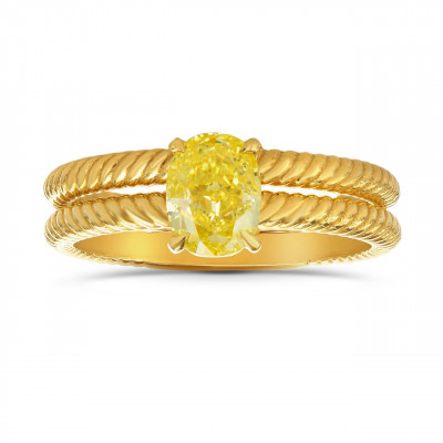 Fancy Intense Yellow Oval Engagement & Wedding Ring Set (1.00Ct)