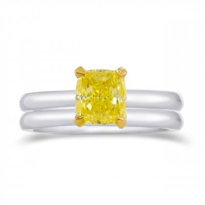Fancy Intense Yellow Cushion Diamond Solitaire Engagement & Wedding Ring Set (1.00Ct)