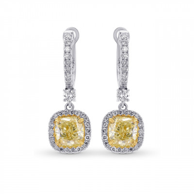 Yellow Diamond Cushion Drop Halo Earrings (2.50Ct TW)