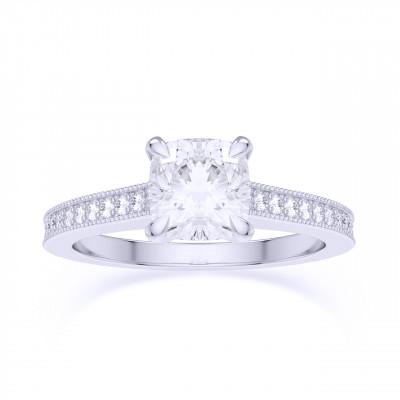 Cushion & Pave Diamond Ring, GIA (0.95Ct TW)